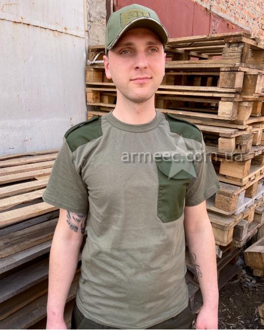 Военная футболка с погоном Olive O2