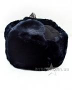 Шапка ушанка синяя черный верх А1
