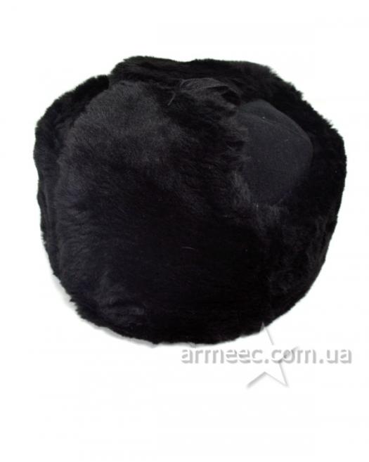 Шапка-ушанка натуральный мех + сукно Black