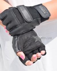 Перчатки беспалые Кожа Black