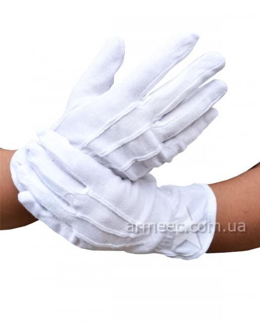 Перчатки х.б. белые с точкой №2